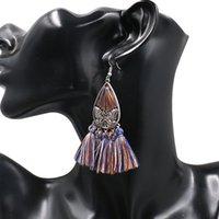 schmetterlingsseil großhandel-Neue Quaste Schmetterling Ohrringe Für Frauen Ethnische Große Ohrringe Böhmen Modeschmuck Trendy Baumwolle Seil Fransen Lange Baumeln