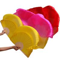 ingrosso ventilatore a mano in seta gialla-Ventilatori di danza del ventre 2017 Le più nuove costole di bambù fatte a mano Puntelli di danza del ventre Ventilatori di danza naturale 1Pc Mano sinistra + Mano destra Giallo + Rosa + ...