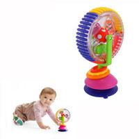 modelo de juguete molinos de viento al por mayor-Cochecito de bebé de juguete Modelo de tres colores Molino de viento giratorio Silla de comedor de cochecito Noria con ventosas Juguetes educativos para bebés