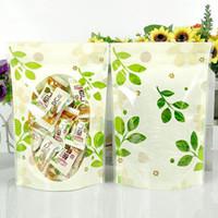 bolsas de almacenamiento de té al por mayor-Snack Tea Candy Storage 12 * 20 cm Green Leaf Candy Storage Válvula de polietileno transparente Bolsa de empaque Sellado térmico Bolsa de hoja verde con cierre hermético