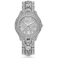diamantes relógio de ouro quartzo genebra venda por atacado-Homens de ouro senhora genebra liga de aço do metal assistir moda senhoras de luxo vestido de quartzo de diamante analógico mens relógios a615