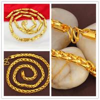 ingrosso gioielli solidi 24k-2 stili SPEDIZIONE GRATUITA Heavy MENS 24 K REAL SOLID GOLD FINITURA SPESSORE MIAMI CUBAN LINK COLLANA CATENA monili della collana di alta qualità