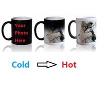 sihirli ısı kupası toptan satış-Magic Mug Özel Fotoğraf Isı Rengi Değiştirme Morph Mug 300ml Çay-Kahve Bira Süt Kupası Çerez Hediyeli Toptan ucuz
