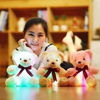 ingrosso nastro di orsacchiotto-Colorful Luminoso Teddy Bear Luminous Ribbon Bow Tie Super Soft Peluche Kawaii Luce Led Filled Doll Bambini Giocattoli di festa
