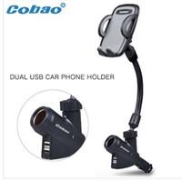soporte para coche iphone usb al por mayor-Coche móvil del teléfono celular soporte de montaje con encendedor de cigarrillos 2 carga cargador puerto USB para iphone 6 5s 6 s 6 s plus xiaomi