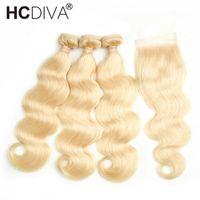 человеческие волосы закрытия 613 оптовых-Лучшие продажи #613 светлые человеческие волосы расслоение кружева закрытие 8а норки бразильские волосы 3 пучка волна тела с кружевной Cloaure пучки с закрытием
