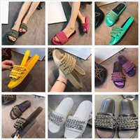 Wholesale woolen shoes - 2018 New Brand Designer Summer leather sandals For Women Chain slippers muffin slippers woolen casual sandals flat shoes lazy holiday shoes