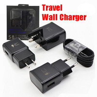 Wholesale fast package - 2 in 1 Wall Charger Adapter Fast Charging Travel Wall Charger +1.2M Micro USB Data Cable for Samsung Galaxy S7 S8 with Retail Package