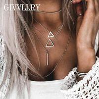bar minimalista venda por atacado-GIVVLLRY Minimalista Multi Layered Cadeia Colar para As Mulheres de Prata Elegante Cor Oco Triângulo Bar Geométrica Colar de Pingente