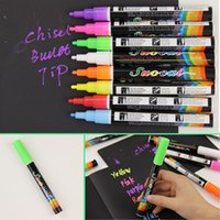 Wholesale coloured markers - 8colors Set Liquid Chalk Marker Pens Erasable Multi Colored Highlighters LED Writing Board Glass Window Art 8 Colours Marker Pens
