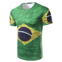 Wholesale brazil t shirt men for sale - Group buy 2018 Brazil Short Sleeve D Printed Soccer Fans T Shirts Casual Green Men World Cup T Shirts M XL