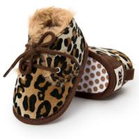erste wanderer schuhe leopard großhandel-Baby Winter Stiefel Neugeborenen Kleinkind Kinder Erste Wanderer Warme Mädchen Jungen Weiche Sohle Anti-Slip Prewalker Baby Schuhe Leopard