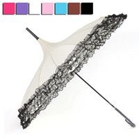 Wholesale pagoda lights - Princess Lace Umbrella Rain Women Fashion Ribs Pagoda Parasol Long handle Umbrella Windproof Sunny and Rainy Parasol