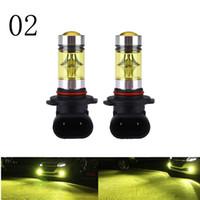 h8 sarı toptan satış-2 adet 100 W 9005 9006 H11 H16 H10 Altın Sarı 3000 k Projektör Lens Fonksiyonu Ile Sis Işık Lambası H3 H4 Hb3 Hb4 Sis Lambası