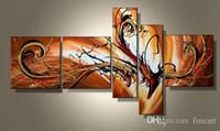 ingrosso meglio dipinta a mano-Buona qualità 5 pannello dipinto a mano olio wall art best belle art pittura a olio su tela decorazione della casa pittura a olio regalo unico Kungfu Art