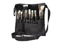Wholesale makeup brush belts resale online - Fashion Black Two Arrays Makeup Brush Holder Stand Pockets Strap Belt Waist Bag Salon Makeup Artist Cosmetic Brush Organizer
