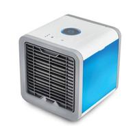 ledli soğutma fanları toptan satış-Taşınabilir Mini Klima hava Soğutma Fanı Ile 7 Renkler LED Işıkları USB Hava Soğutucu Fan Nemlendirici Arıtma Herhangi Bir Alan 3 in 1 Ev Ofis