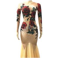 stein lange abendkleider großhandel-Multicolor Stones Rose Blumen langes Kleid rot grün Strass Stage Wear Nude Stretch Kleid Bar Sängerin Abend Outfit