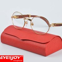 Wholesale Fashion Accessories Bags - Metal wood frame glasses With Red Case & Box and Accessories Brand Designer Fashion Gold Frames Eyeglasses Men Women Brown Lens
