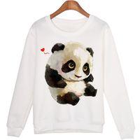 sudaderas con capucha panda lindo al por mayor-Cute Animal Sudadera Sudaderas Mujer Panda Harajuku Impreso Sudaderas Kwaii Moleton Jerseys Wmh29 Nueva Moda Caliente
