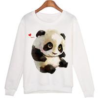 Wholesale cute panda hoodies resale online - Cute Animal Sweatshirt Sudaderas Mujer Panda Printed Harajuku Hoodies Kwaii Moleton Pullovers Wmh29 New Hot Fashion