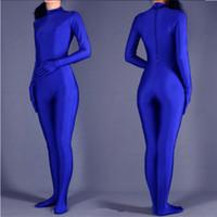 blauer lycra hautanzug großhandel-(SWH004) Blaue Spandex Zentai Ganzkörper-Body Enge Overall Zentai Anzug Body Kostüm für Frauen / Männer Ganzanzug Lycra Dancewear