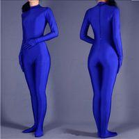 traje azul completo de las mujeres al por mayor-(SWH004) Blue Spandex Zentai Body Full Skin Tight Jumpsuit Zentai Traje Traje de Body para Mujer / Hombre Unitard Lycra Dancewear