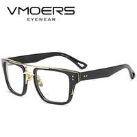 óculos falsos para homens venda por atacado-VMOERS Quadrados Armações de Óculos de Estilo de Luxo Miopia Óptico Óculos de Armação de Óculos Para Homens Lente Clara Armações de Óculos Falsos Masculino
