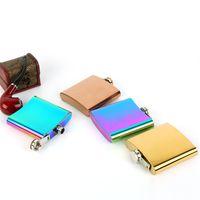 oz карманная колба оптовых-Цвет градиента с покрытием 6-унц. Фляга из нержавеющей стали, 6 унций.