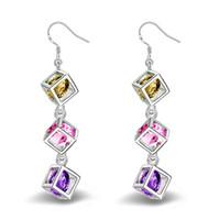 Wholesale gold plated amethyst earrings - 925 Sterling Sliver Earrings Swarovski Amethyst Crystal Earring Chandelier Fashion Earrings Dangle Luxury Designer Earring Designer Jewelry