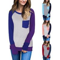 blok t gömlek toptan satış-Kadın Patchwork Cep Gömlek Sonbahar Kış Blok Ekleme Cep Uzun Kollu Gevşek Rahat T-Shirt Bluzlar 4 Renkler OOA4422 Tops