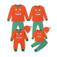 aile takımı eşleştirme kıyafeti toptan satış-Yeni Cadılar Bayramı Kostümleri Aile Eşleşen Pijama Sonbahar Aile Giysileri Set Cadılar Bayramı Kabak Şerit Kıyafetler Aile LooK Çocuklar Bebek Giysileri