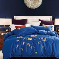 Wholesale cotton sunflower bedding sets resale online - Textile Quality Nordic Luxury Bedding Sets Dark Blue Sunflower Cotton Bed Linen Duvet Cover Sheet Pillowcases