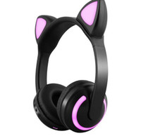 кошка mp4 оптовых-Наушники Cat Ear 7 Мигающий Яркий Уш Bluetooth-гарнитура для Девочек Дети Игры Олень Дьявол Ухо Кролика Индивидуально Завернуты