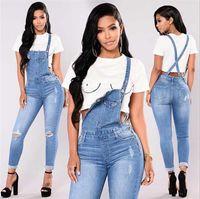 traje de mujer de moda al por mayor-Nuevos trajes de mujer Jeans Moda Puños Capris Denim Jeans Ripped Casual traje sexy Compras gratis
