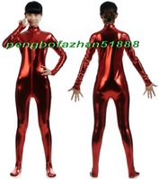 Wholesale sexy woman metallic costumes resale online - Sexy Women Body Suit Costumes New Red Shiny Lycra Metallic Bodysuit Catsuit Costumes With Long Zipper Halloween Party Cosplay Suit P389