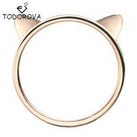 paar ring katze großhandel-Todorova Paar Schmuck Silber Ring Nette Katze Ohr Ringe für Frauen Großhandel Weibliche Fingerring