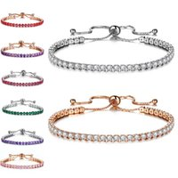 Wholesale kids silver jewelry sets - Row Crystal Cubic Zirconia Bracelet Silver Gold Pulll Adjustable Bracelet Cuffs Wedding Fashion Jewelry for Women Kids Gift Drop Shipping