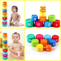 Wholesale Educational Letters - Christmas Gift Excellent Baby Children Kids Educational Toy New Building Puzzles Figures Letters Folding Cup Children Early Intelligence Toy