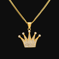ingrosso catena del rhinestone di 3mm-Collana con ciondolo corona di re hip-hop Collana in acciaio inossidabile con ciondolo in strass color oro dorato con catena di 3mm da 60 cm regalo di Natale