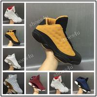 Wholesale Money Split - 2017 AIR 13 XIII low pure money Navy blue Chutney black gold wheat Men basketball shoes black sports sneakers size 8-13