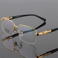 Wholesale titanium spectacles half frame resale online - EYELOOK New Brand Men Titanium Half Rim Optical Glasses Spectacle Business Gold Silver Frame Myopia Eyeglasses LB9910