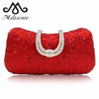 52380f6812f Bolso de mano para mujer Bolsos de noche rojos Embragues de boda Lady Party  Monedero con cadena