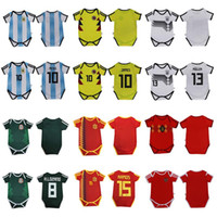 Wholesale shorts for kids - Baby Soccer Jersey Toddler For 6 to 18 Months 2018 World Cup Argentina Messi Spain Mexico Colombia Belgium Russia Germany Kid Football Shirt