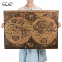 Wholesale vinyl tile stickers - Retro World Map Nautical Ocean Map Vintage Kraft Paper Poster Wall Chart Sticker Antique Home Decor Map World 72.5*51.5cm