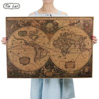 Wholesale decor wall tiles wholesaler - Retro World Map Nautical Ocean Map Vintage Kraft Paper Poster Wall Chart Sticker Antique Home Decor Map World 72.5*51.5cm