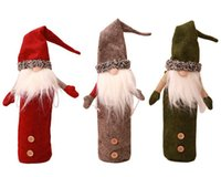 ingrosso bambole vestite da uomini-Natale Decorating Supplies Faccia meno Doll Copertura della bottiglia di vino Champagne Ricamo Old Wine's Doll Wine Bag Ristorante Abiti da festa