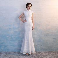 Wholesale lace qipao wedding dress online - HYG896 Chinese Traditional Dress White Lace Fishtail Wedding Qipao Dress Chinese Bride Mermaid Wedding Cheongsam Dress Long Cheongsam