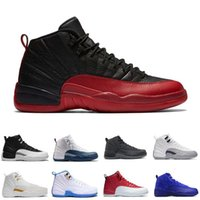 Wholesale Online French - Free shipping 2018 new high quality retro 12 UNC gym red basketball shoes white balck french Blue sneaker Boots online us size 8-13