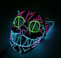 siyah kedi maskeleri toptan satış-LED Cadılar Bayramı Maskeleri Parti Maskesi EL Tel Parlayan Maske Siyah Masquerade Doğum Günü Maske Karnaval Cosplay kedi Maskeleri Işıklı Oyuncaklar GGA1274